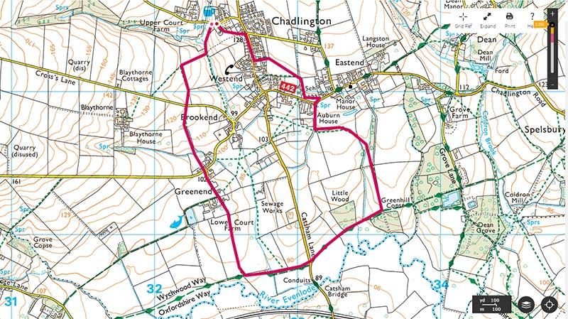 Map of circular walk, a shorter walk from The Tite Inn