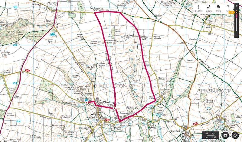 Map of circular walk, The Green Lane