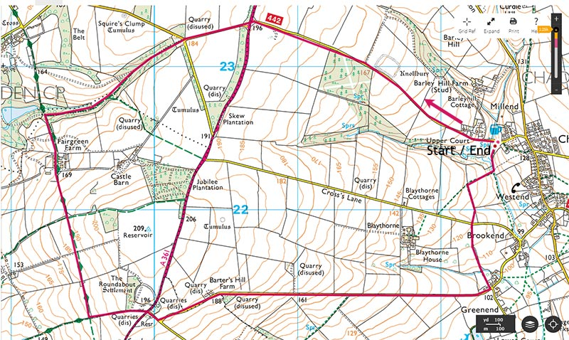Map of circular walk from The Tite Inn
